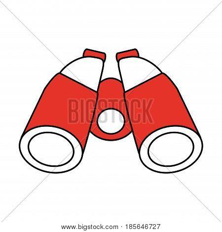 color contour cartoon red binocular field glasses vector illustration