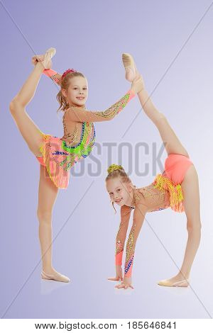 Two adorable little twin girls, gymnastics in the sports school. Girls beautiful gymnastic leotards. They do the splits.On a light purple gradient background.