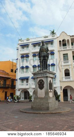 Cartagena de Indias, Bolivar / Colombia - April 10 2016: Monument to Pedro de Heredia in Plaza de los Coches in the historical center. Pedro de Heredia founded Cartagena in 1533