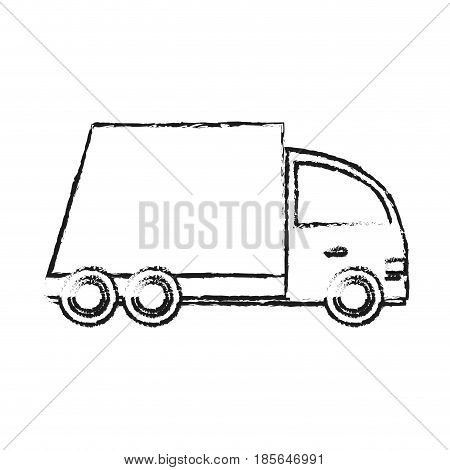 blurred silhouette cartoon transport truck with wagon and wheels vector illustration