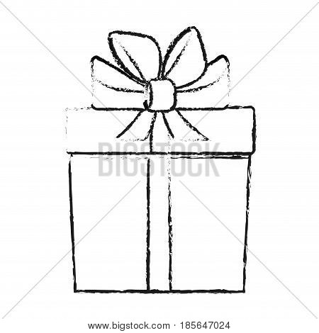 blurred silhouette cartoon giftbox with wrapping bow vector illustration