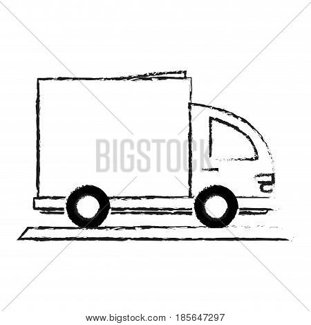 blurred silhouette cartoon small transport truck with wagon vector illustration