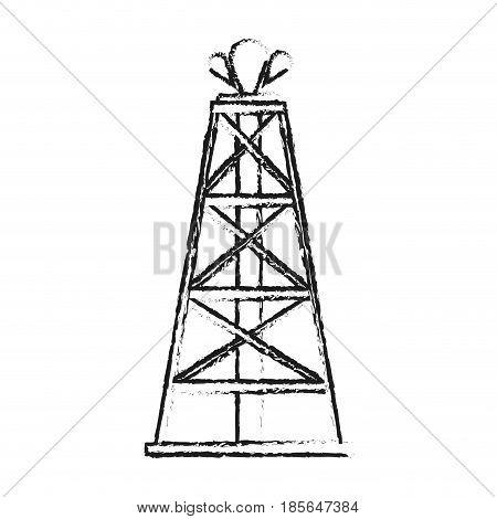 blurred silhouette cartoon oil crude tower vector illustration