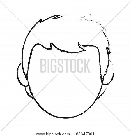 blurred silhouette cartoon front view faceless front view man with hairstyle vector illustration
