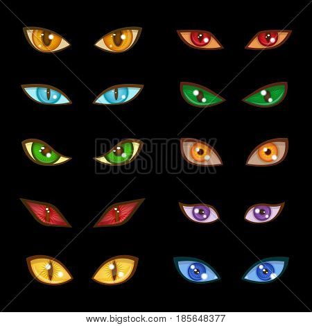 Danger animal monster evil glow eyes set for faces depicting range expressions on dark black background vector illustration. Bright dangerous design scary wild eyeball.