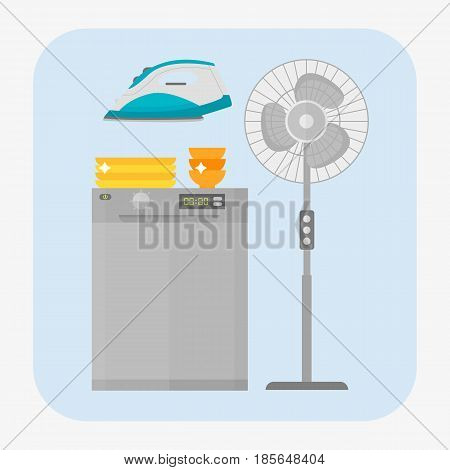 Dishwasher with dishes isolated stainless kitchen appliance house domestic equipment vector illustration. Modern household dishwashing hygiene silverware