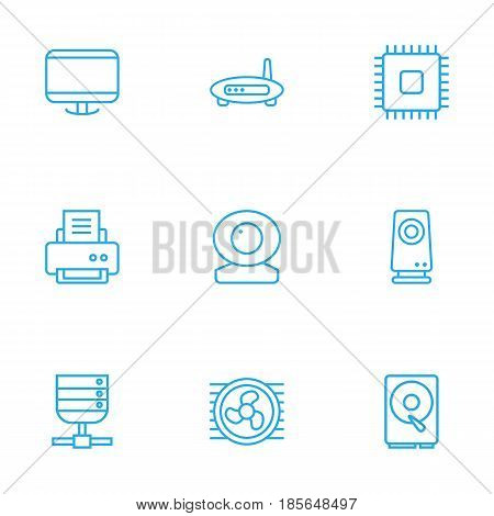 Set Of 9 Notebook Outline Icons Set.Collection Of Hdd, Server, Printer And Other Elements.