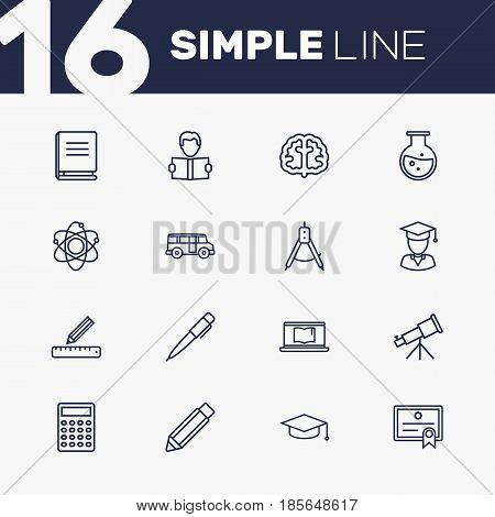 Set Of 16 Studies Outline Icons Set.Collection Of Graduated, Pen, Bus And Other Elements.