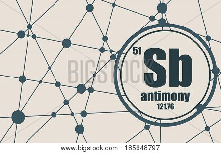 Antimony chemical element. Sign with atomic number and atomic weight. Chemical element of periodic table. Molecule And Communication Background. Connected lines with dots.