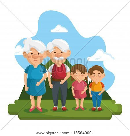 Grandparents and grandchildren at park with mountain and blue sky behind, over white background. Vector illustration.