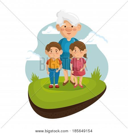 Grandma and grandchildren at the park with green grass and blue sky over white background.