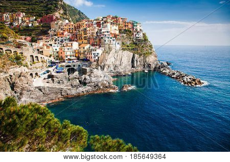 picturesque village of Manarola, on the Cinque Terre coast of Italy