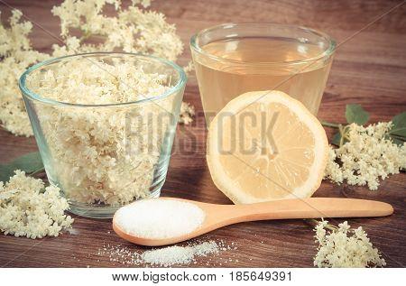 Vintage Photo, Flowers And Juice Of Elderberry, Ingredients For Preparing Beverage On Board, Alterna
