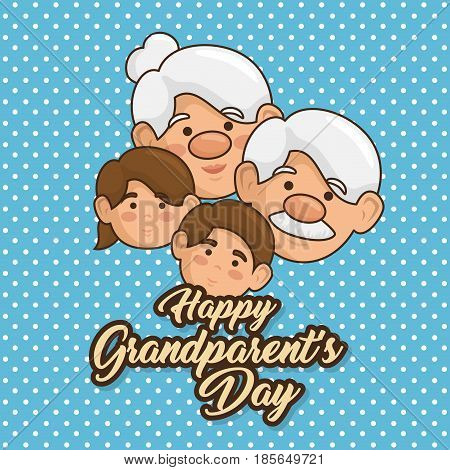 Happy grandparent day card with heart, elderly woman, man, and grandchildren over dotted blue background. Vector illustration.