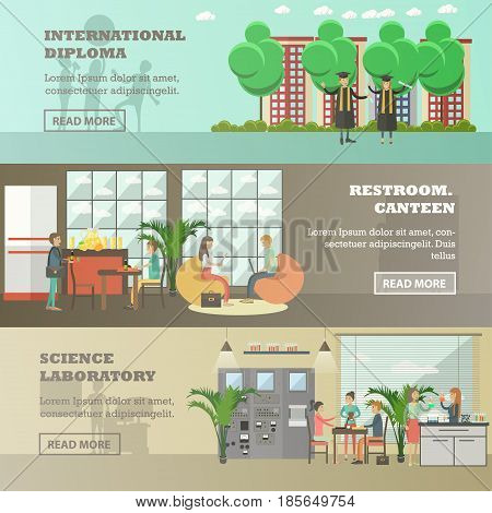 Vector set of university horizontal banners. International diploma, Restroom and canteen, Science laboratory flat style design elements.