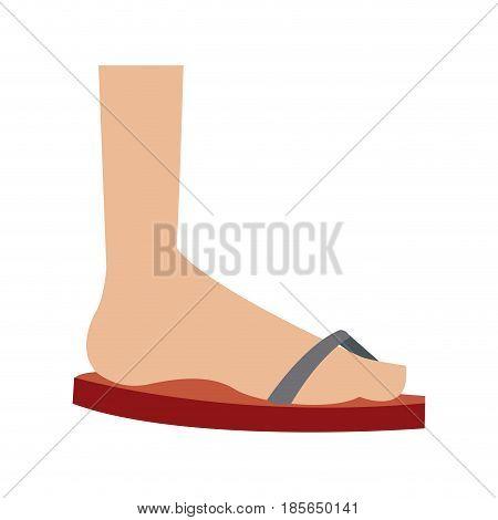 cartoon feet sandal vacation style vector illustration