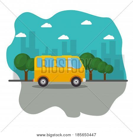 A yellow minibus, a street, some trees and city skyline icon over white background. Vector illustration.