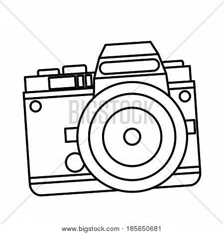 camera photo picture travel equipment line vector illustration