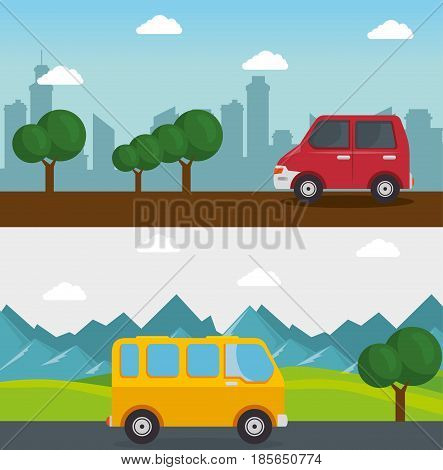 Colorful design with car, minibus, mountain landscape and city skyline. Vector illustration.