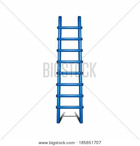 Wooden ladder in blue design with shadow leading up on white background