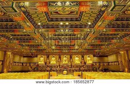 Inside Of Chinese Pagoda In Hong Kong