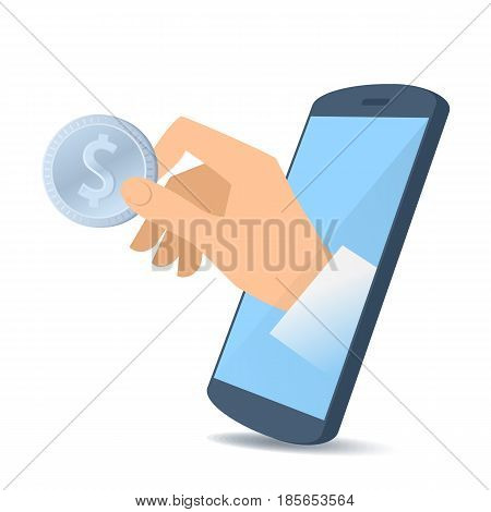 A human hand through the mobile phone's screen holds a dollar coin. Smart phone apps online money banking and cashback flat concept illustration. Vector design element isolated on white background.