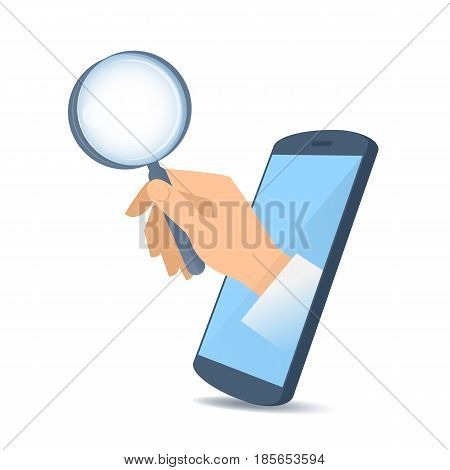 A human hand through the mobile phone's screen holds a magnifying glass. Modern technology and smart phone apps flat concept illustration. Vector design element isolated on white background.