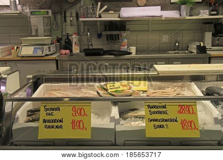 Oulu, Finland - April 11, 2017: stall with frozen fish on market in Oulu, Finland