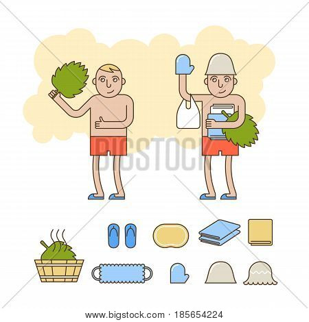 The cartoon character in the bathhouse. Bath and sauna accessories icon set. Contour line concept illustration. Vector thin outline icons and elements for web design social networks and infographics.