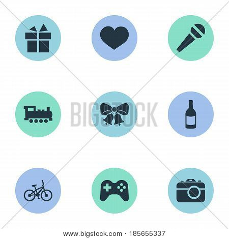 Vector Illustration Set Of Simple Holiday Icons. Elements Resonate, Camera, Train And Other Synonyms Speech, Champagne And Fizz.