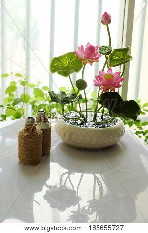 Clay Art, Pink Lotus Flower Pot
