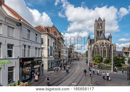 Ghent Belgium - July 31 2016: Cityscape of Ghent with Saint Nicholas' Church. It is one of the oldest and most prominent landmarks in Ghent.