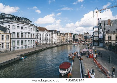 Ghent Belgium - July 31 2016: Embankment Graslei in the historic center of Ghent with picturesque old buildings