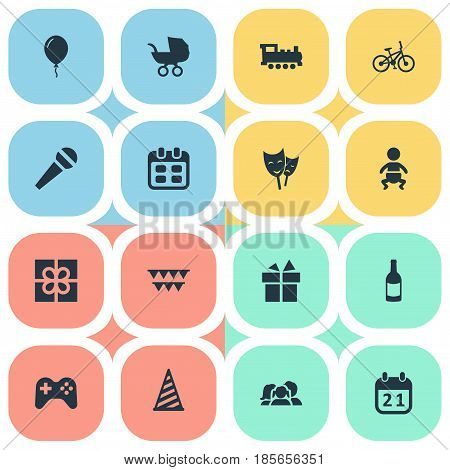 Vector Illustration Set Of Simple Holiday Icons. Elements Box, Bicycle, Ribbon And Other Synonyms Voice, Day And Domestic.