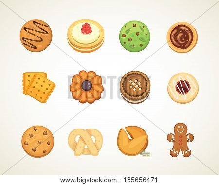 Different cookie cakes top view sweet food isolated on white background vector illustration. Cookie man, cartoon food