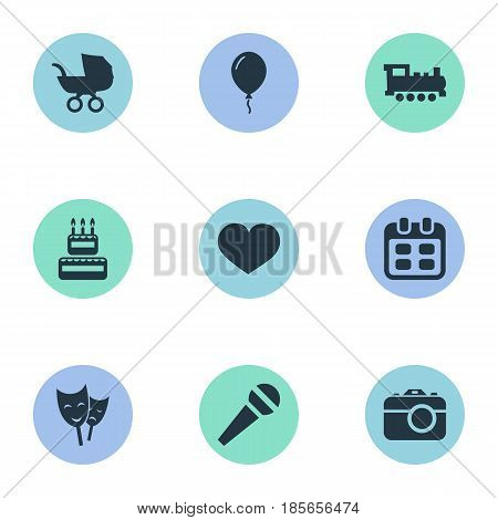 Vector Illustration Set Of Simple Holiday Icons. Elements Confectionery, Baby Carriage, Mask And Other Synonyms Voice, Sweetmeat And Actor.