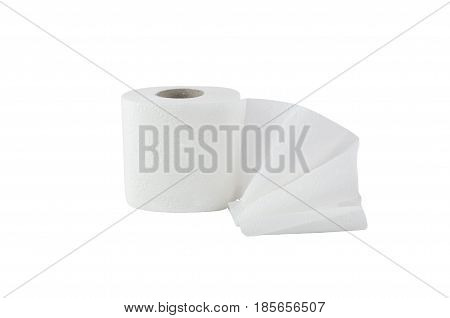 one toilet roll of white color is a little unwound on a white background