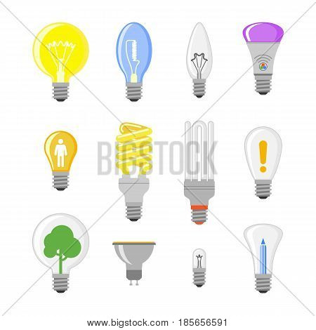 Cartoon lamp electric and bright cartoon interior flat vector brainstorming. Idea light bulb electricity design illustration isolated creative invention imagination business creativity.