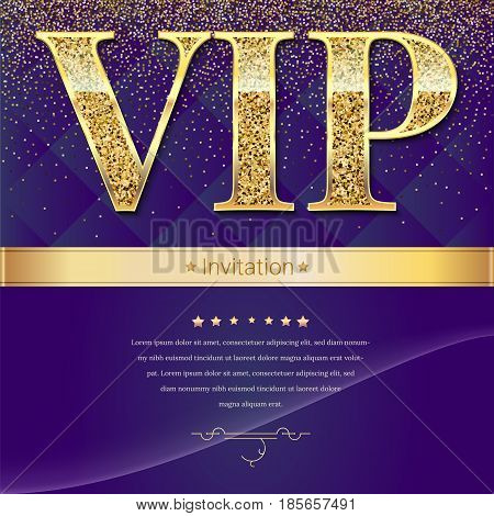 Golden symbol of exclusivity, the label VIP with glitter. Very important person - VIP invitation mock-up on elite, abstract quilted background, Template for vip banners, invitation or cover. poster