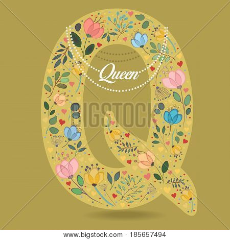Yellow Letter Q with Folk Floral Decor. Colorful watercolor flowers and plants. Small hearts. Graceful pearl necklace with text Queen. Vector Illustration