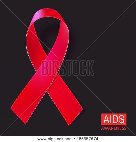 Realistic red ribbon vector illustration on black background. Symbol of AIDS, HIV, heart disease, stroke awareness sign.