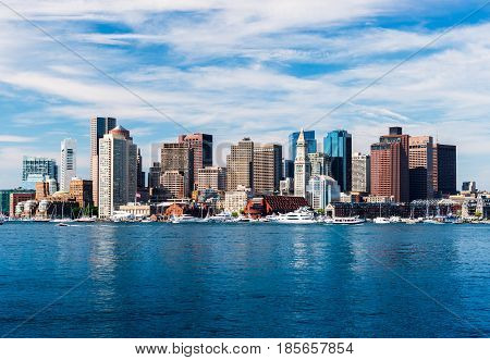 Panoramic view of Boston skyline, view from harbor, skyscrapers in downtown Boston, cityscape of the Massachusetts capital, USA