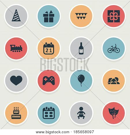 Vector Illustration Set Of Simple Celebration Icons. Elements Special Day, Mask, Bicycle And Other Synonyms Domestic, Play And Fizz.