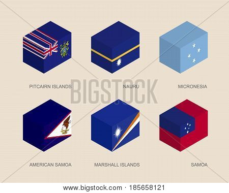 Set of isometric 3d boxes with flags of countries in Oceania. Simple containers with standards - Pitcairn Islands, Nauru, Micronesia, Samoa, American Samoa, Marshall Islands. Design elements.