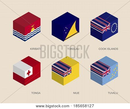 Set of isometric 3d boxes with flags of countries in Oceania. Simple containers with standards - Kiribati, Tokelau, Cook Islands, Tonga, Niue, Tuvalu.