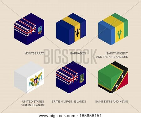 Isometric 3d boxes with flags of countries in Oceania. Simple containers with standards - Montserrat, Barbados, Virgin Islands, Saint Kitts and Nevis, Saint Vincent and Grenadines. Design elements.