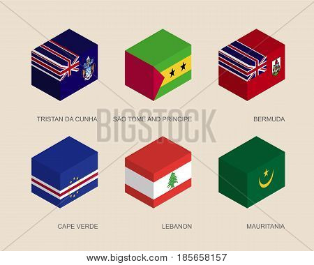 Isometric 3d boxes with flags of countries in Atlantic. Simple containers with standards - Mauritania, Cape Verde, Lebanon, Tristan da Cunha, Sao Tome, Bermuda. Design elements.