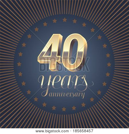 40 years anniversary vector logo. Decoration design element with medal and 3D number for 40th anniversary