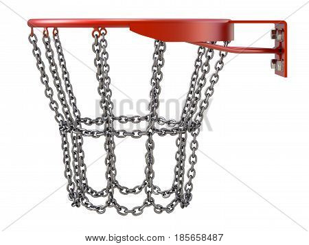 Basketball hoop with chains isolated on white background - 3D illustration
