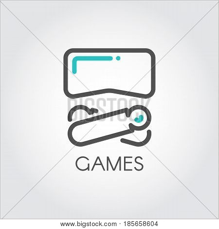 Color turquoise and dark grey icon in style line art. Outline symbol with stylized image of new technology device game virtual reality. Stroke vector logo VR helmet and controllers. linear pictogram.